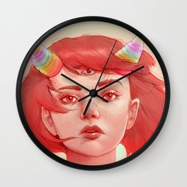 Red girl with horns Wall Clock