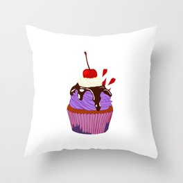 Cupcake With A Cherry Throw Pillow