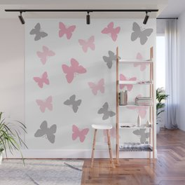 Pink and Grey Gray Butterflies Wall Mural