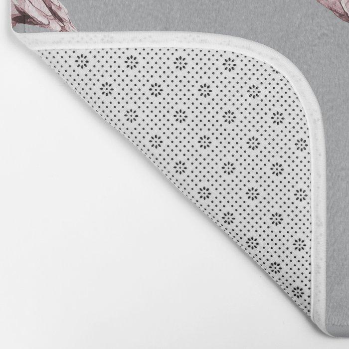 Simply Flamingo on Concrete Gray Bath Mat