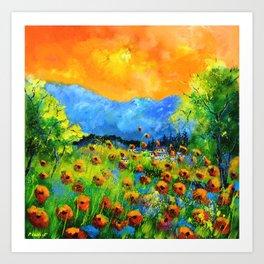 Red poppiesin Houyet Art Print