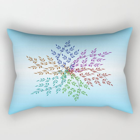 Leafy Rainbow Mandala Rectangular Pillow