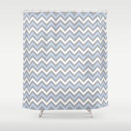 Chevron - light blue and grey Shower Curtain