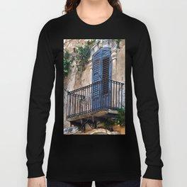Blue Sicilian Door on the Balcony Long Sleeve T-shirt