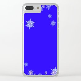 LACEY WHITE SNOWFLAKES HOLIDAY BLUE ART Clear iPhone Case