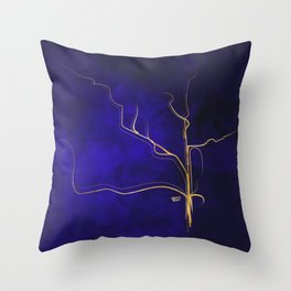 Kintsugi Gold Royal Blue Watercolor Throw Pillow