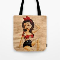 pin up Tote Bags featuring Pin Up by Lilolilosa