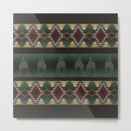 southwest stripe with horses Metal Print