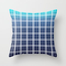 Deep Blue Sea Tartan Plaid Check Throw Pillow
