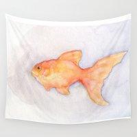 goldfish Wall Tapestries featuring Goldfish by Shana Conroy aka Wisccheeto