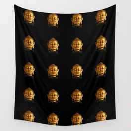 Budhha Golden Head by Lika Ramati Wall Tapestry