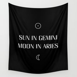 Gemini/Aries Sun and Moon Signs Wall Tapestry