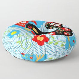 Portuguese Rooster of Luck with blue dots Floor Pillow