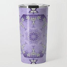 Silver flowers on deep purple textured mandala Travel Mug