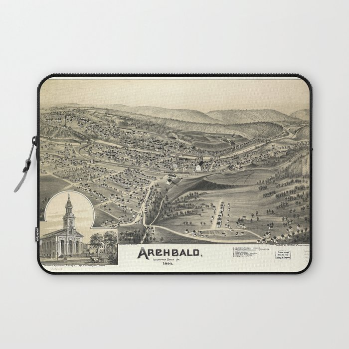 Aerial View of Archbald, Pennsylvania (1892) Laptop Sleeve