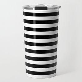 Simple Black & White Stripes Travel Mug