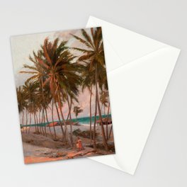Vintage Palm Tree and Beach Art Stationery Cards