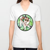 okami V-neck T-shirts featuring Amaterasu from Okami 01 by Jazmine Phillips