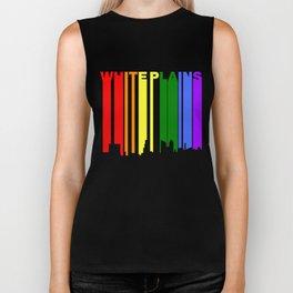 White Plains New York Gay Pride Rainbow Skyline Biker Tank