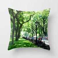 literary Throw Pillows featuring Literary Walk at Central Park, New York City   by Lissette