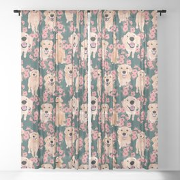Golden Retriever and flowers on green Sheer Curtain
