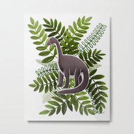 Dinosaur & Leaves - Olive Green Metal Print