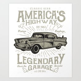 Americas Highway Legendary Garage Art Print