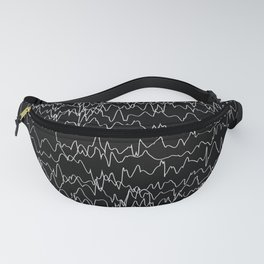 Pattern Collection. Black and White. Waves. Heart Rate Fanny Pack