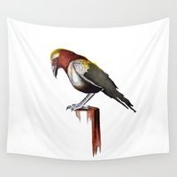 crow Wall Tapestries featuring Crow by Rocío Gómez
