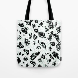 Triple Terrazzo - Mint Green Black & White Modern Speckle Pattern Tote Bag