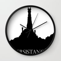 the lord of the rings Wall Clocks featuring Lord of the Rings Motivational Poster - Persistance by Barrett Biggers