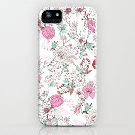 Fuchsia pastel green white abstract floral illustration iPhone Case