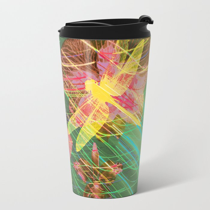 Colorful Dragonflies QY Metal Travel Mug