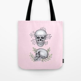 Skull with florals on pink Tote Bag
