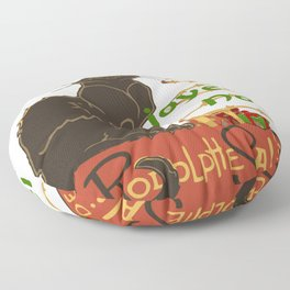Joyeux Noel Le Chat Noir Christmas Parody Floor Pillow