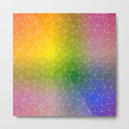 Triangulated Rainbow Background Pattern Metal Print