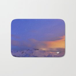 Star Sirius over the mountains at sunset. Constelation Canis Mayor Bath Mat