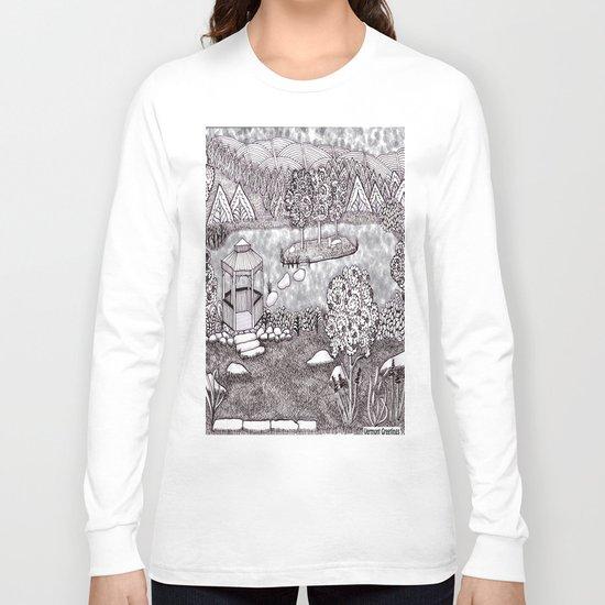 Zentangle Vermont Mountain Pond Long Sleeve T-shirt