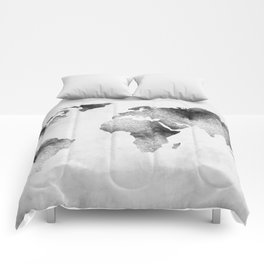 World Map - Hammered Metallic Monochrome Comforters