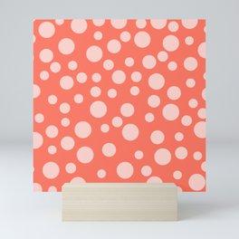 Living Coral Polka Dot Party Mini Art Print