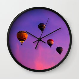 Hot Air Balloons In Flight In The Dawn Skies Over Egypt Wall Clock