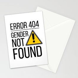 Error 404 Gender Not Found Nonbinary Agender LBGT Trans Inclusive Queer Stationery Cards