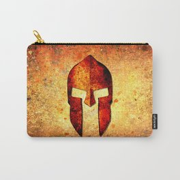 Spartan Helmet On Rust Background - Molon Labe Carry-All Pouch