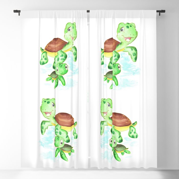 Turtle Baby And Mom Nautical Wall Decor Ocean Themed Nursery Sea Animals Watercolor Blackout Curtain By Dariaart