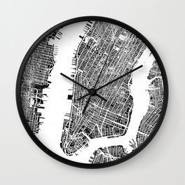 New York City Map United States White and Black Rubbing Wall Clock