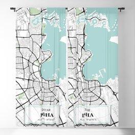 Doha, Qatar City Map with GPS Coordinates Blackout Curtain