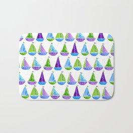 Watercolor colorful boats Bath Mat