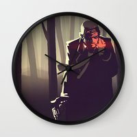 sin city Wall Clocks featuring Sin City woods by Sam Daley