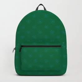 Teal Green on Cadmium Green Snowflakes Backpack