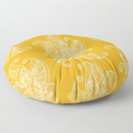 White and Yellow Feathers Floor Pillow